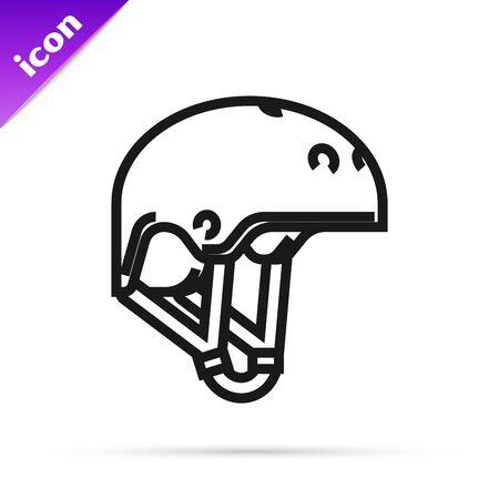Black line Helmet icon isolated on white background. Extreme sport. Sport equipment. Vector Illustration Illusztráció