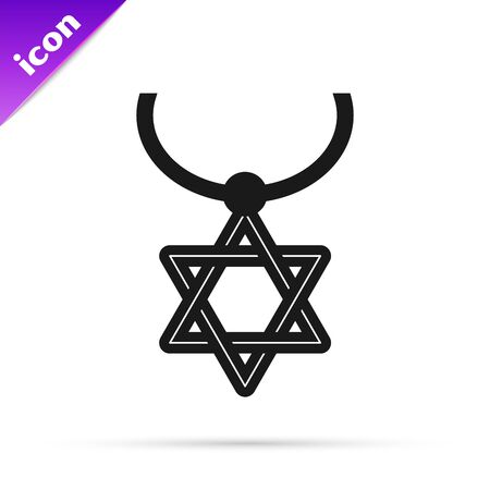 Black line Star of David necklace on chain icon isolated on white background. Jewish religion symbol. Symbol of Israel. Jewellery and accessory. Vector Illustration Stok Fotoğraf - 133794851