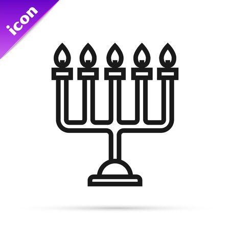 Black line Hanukkah menorah icon isolated on white background. Hanukkah traditional symbol. Holiday religion, jewish festival of Lights. Vector Illustration Stok Fotoğraf - 133790579