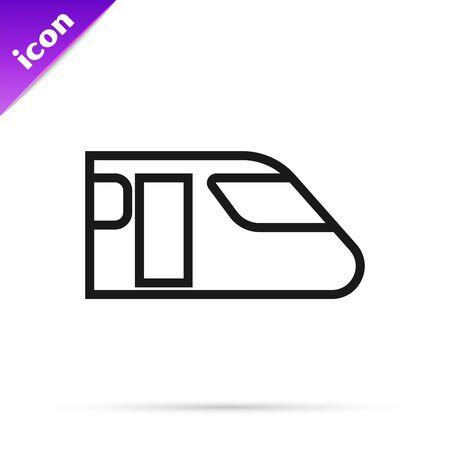 Black line Train icon isolated on white background. Public transportation symbol. Subway train transport. Metro underground. Vector Illustration Stock Illustratie
