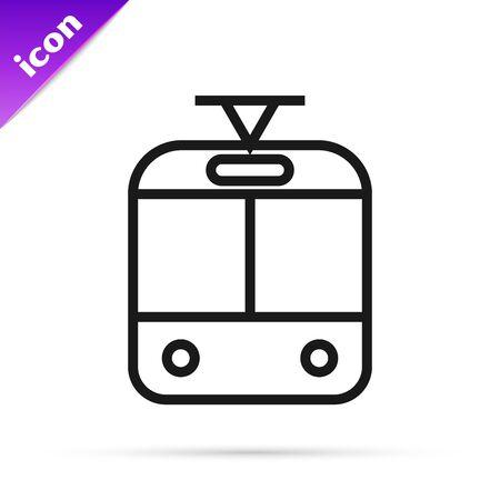 Black line Tram and railway icon isolated on white background. Public transportation symbol. Vector Illustration