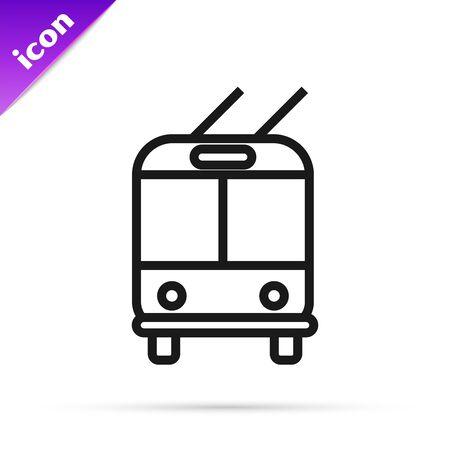 Black line Trolleybus icon isolated on white background. Public transportation symbol. Vector Illustration