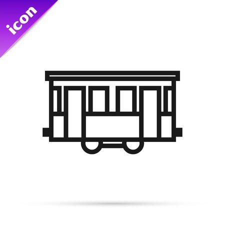 Black line Old city tram icon isolated on white background. Public transportation symbol. Vector Illustration
