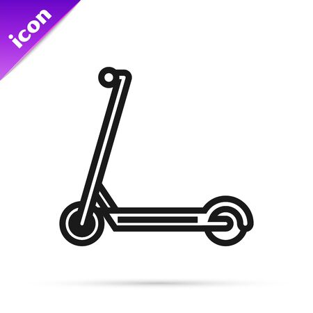 Black line Scooter icon isolated on white background. Vector Illustration