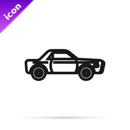 Black line Sedan car icon isolated on white background. Vector Illustration