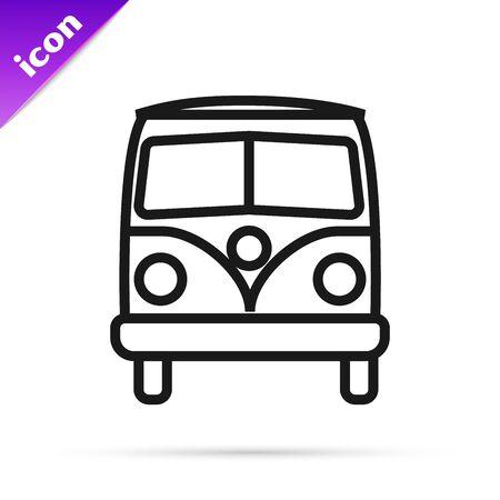 Black line Retro minivan icon isolated on white background. Old retro classic traveling van. Vector Illustration