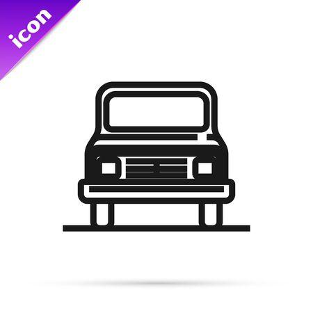 Black line Car icon isolated on white background. Front view. Vector Illustration Illusztráció