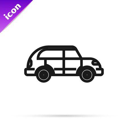 Black line Hatchback car icon isolated on white background. Vector Illustration Illusztráció
