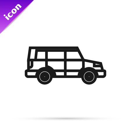 Black line Off road car icon isolated on white background.