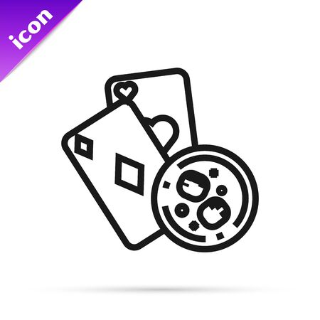 Black line Playing cards and glass of whiskey with ice cubes icon isolated on white background. Casino gambling. Vector Illustration 스톡 콘텐츠 - 133791071