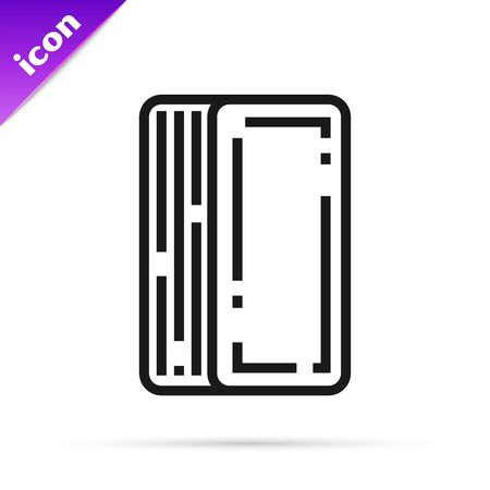 Black line Deck of playing cards icon isolated on white background. Casino gambling. Vector Illustration 일러스트