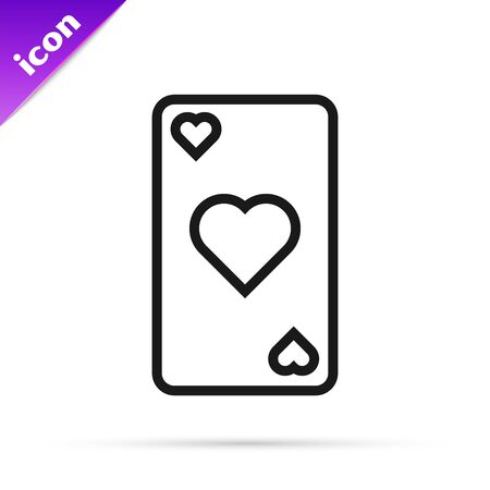 Black line Playing card with heart symbol icon isolated on white background. Casino gambling. Vector Illustration 스톡 콘텐츠 - 133791143