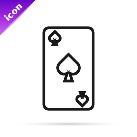 Black line Playing card with spades symbol icon isolated on white background. Casino gambling. Vector Illustration 일러스트