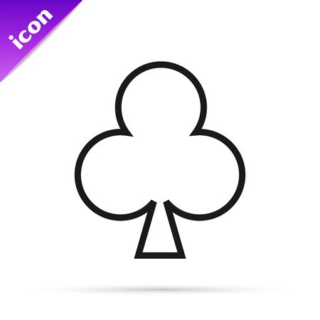 Black line Playing card with clubs symbol icon isolated on white background. Casino gambling. Vector Illustration 일러스트