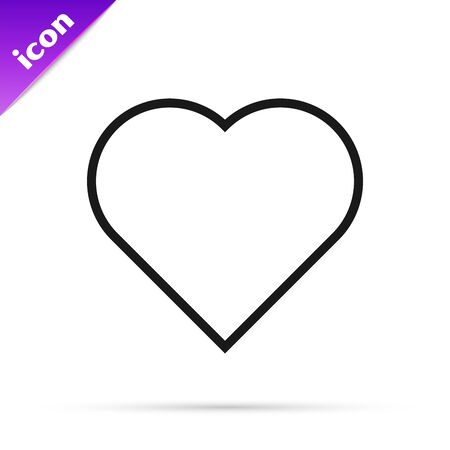 Black line Playing card with heart symbol icon isolated on white background. Casino gambling. Vector Illustration