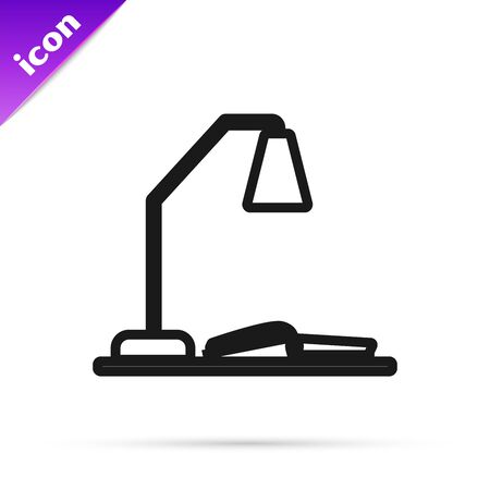 Black line Workplace with table lamp and open book icon isolated on white background. Table office lamp. Vector Illustration