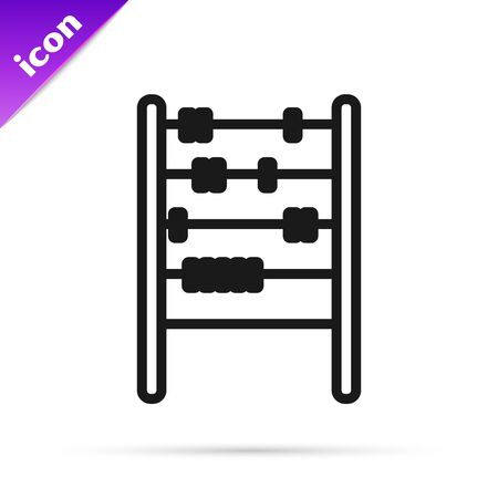 Black line Abacus icon isolated on white background. Traditional counting frame. Education sign. Mathematics school. Vector Illustration
