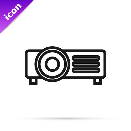 Black line Presentation, movie, film, media projector icon isolated on white background. Vector Illustration