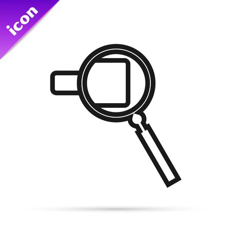 Black line Magnifying glass icon isolated on white background. Search, focus, zoom, business symbol. Vector Illustration 스톡 콘텐츠 - 133791216