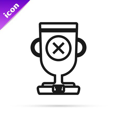Black line Award cup icon isolated on white background. Winner trophy symbol. Championship or competition trophy. Sports achievement sign. Vector Illustration