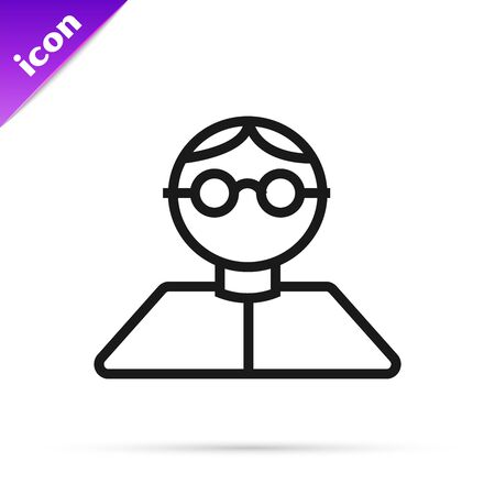 Black line Student icon isolated on white background. Vector Illustration