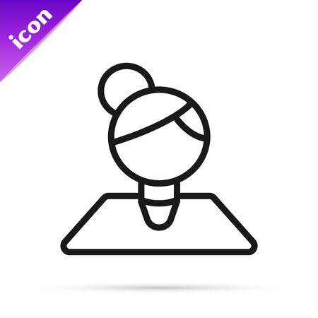 Black line Teacher icon isolated on white background. Vector Illustration Çizim