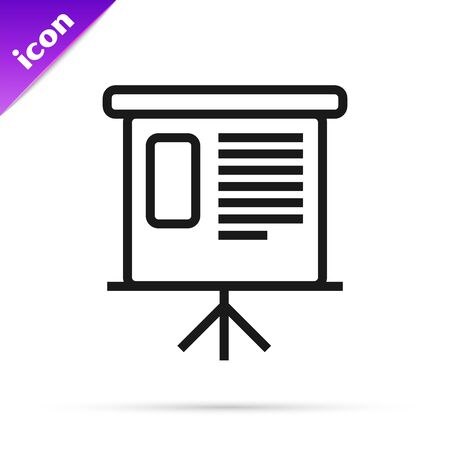 Black line Presentation financial business board with graph, schedule, chart, diagram, infographic, pie graph icon isolated on white background. Vector Illustration Çizim
