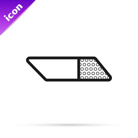 Black line Eraser or rubber icon isolated on white background. Vector Illustration