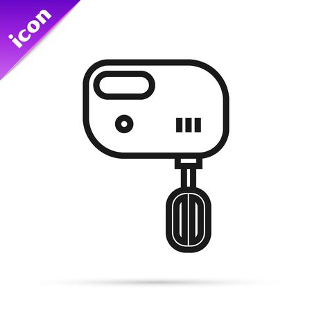 Black line Electric mixer icon isolated on white background. Kitchen blender. Vector Illustration