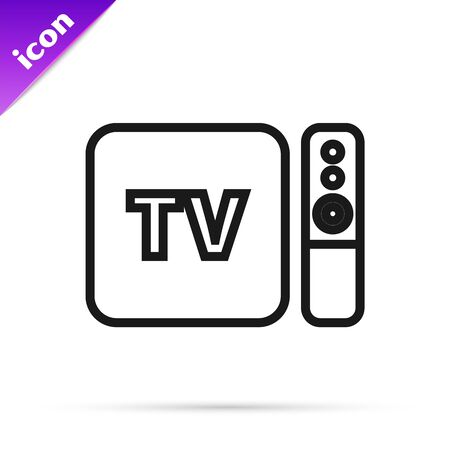Black line Multimedia and TV box receiver and player with remote controller icon isolated on white background. Vector Illustration Ilustrace