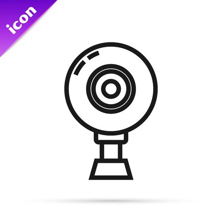 Black line Web camera icon isolated on white background. Chat camera. Webcam icon. Vector Illustration