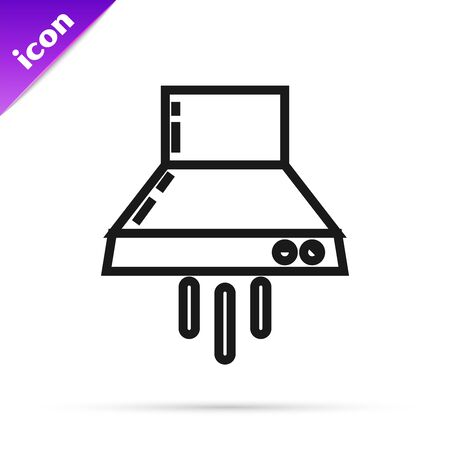 Black line Kitchen extractor fan icon isolated on white background. Cooker hood. Kitchen exhaust. Household appliance. Vector Illustration