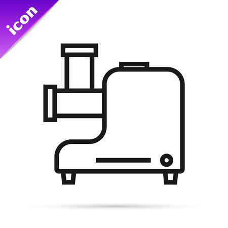 Black line Kitchen meat grinder icon isolated on white background. Vector Illustration