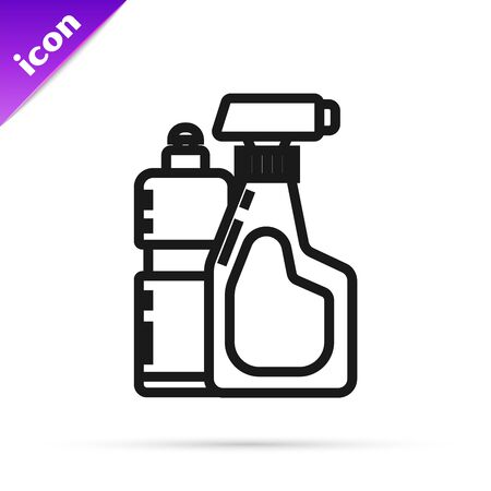 Black line Plastic bottles for liquid laundry detergent, bleach, dishwashing liquid or another cleaning agent icon isolated on white background. Vector Illustration  イラスト・ベクター素材