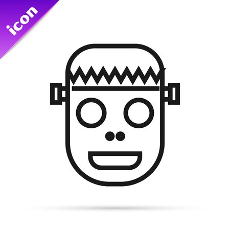 Black line Zombie mask icon isolated on white background. Happy Halloween party. Vector Illustration Illustration