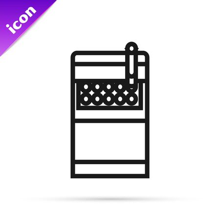 Black line Open cigarettes pack box icon isolated on white background. Cigarettes pack. Vector Illustration