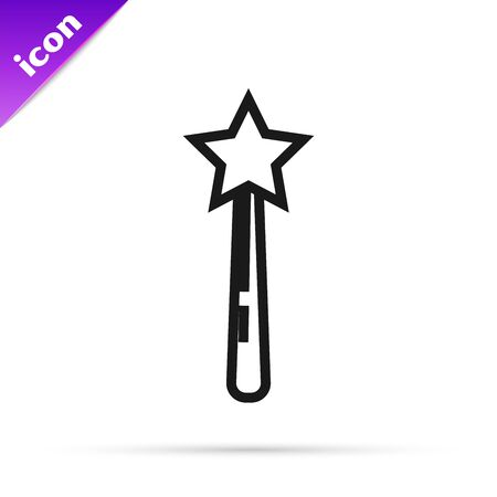 Black line Magic wand icon isolated on white background. Star shape magic accessory. Magical power. Vector Illustration