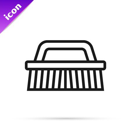 Black line Brush for cleaning icon isolated on white background. Vector Illustration Иллюстрация