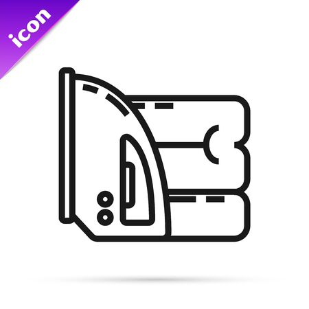 Black line Electric iron and towel icon isolated on white background. Steam iron. Vector Illustration