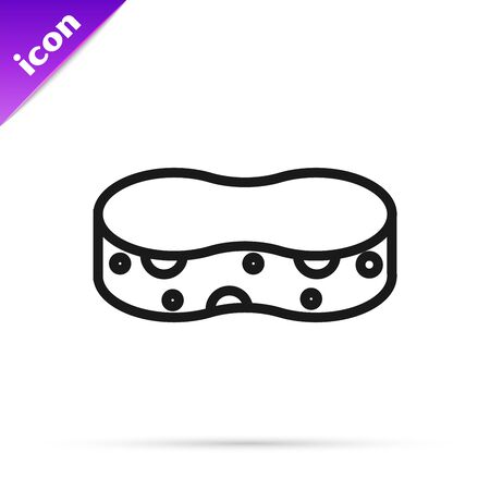 Black line Sponge icon isolated on white background. Wisp of bast for washing dishes. Cleaning service concept. Vector Illustration