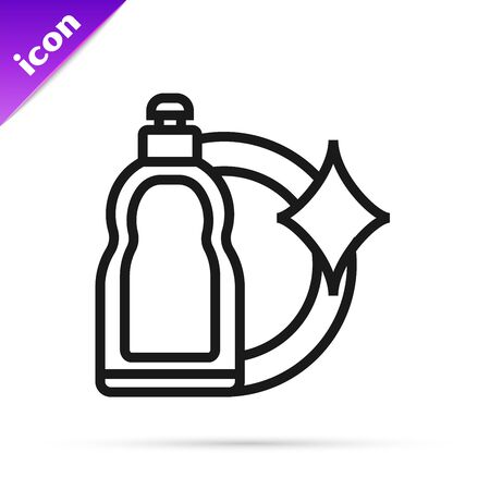 Black line Plastic bottle for liquid laundry detergent, bleach, dishwashing liquid or another cleaning agent icon isolated on white background. Vector Illustration