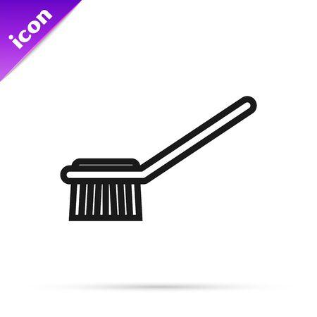 Black line Toilet brush icon isolated on white background. Vector Illustration