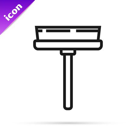 Black line Cleaning service with of rubber cleaner for windows icon isolated on white background. Squeegee, scraper, wiper. Vector Illustration Фото со стока - 133792032