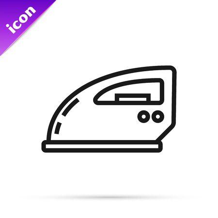 Black line Electric iron icon isolated on white background. Steam iron. Vector Illustration Ilustrace