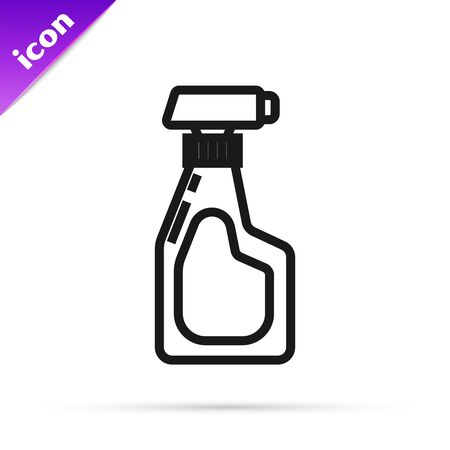 Black line Cleaning spray bottle with detergent liquid icon isolated on white background. Vector Illustration