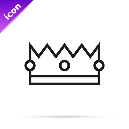 Black line Crown icon isolated on white background. Vector Illustration 스톡 콘텐츠 - 133792515