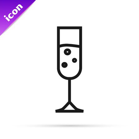 Black line Glass of champagne icon isolated on white background. Vector Illustration Çizim