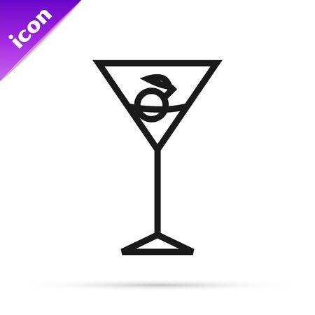 Black line Martini glass icon isolated on white background. Cocktail icon. Wine glass icon. Vector Illustration