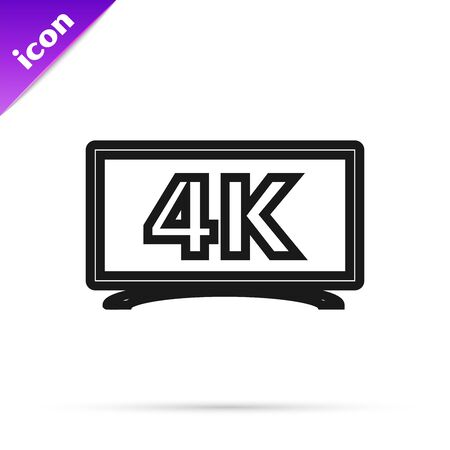 Black line Screen tv with 4k Ultra HD video technology icon isolated on white background. Vector Illustration Illusztráció
