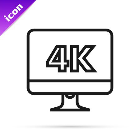 Black line Computer PC monitor display with 4k video technology icon isolated on white background. Vector Illustration